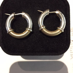 Jewelry - Sterling Silver Two Tone Hoop Earrings